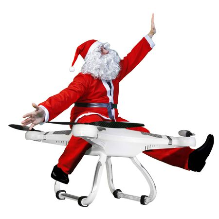 snata claus flying on drone Stock Photo