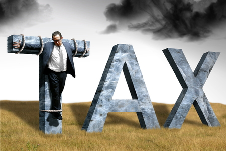 businessman crucified on tax for fraud Stock Photo - 48065369