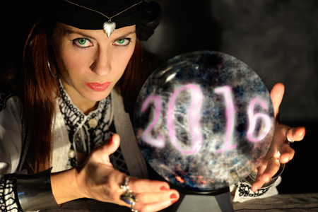 magic ball: forecasting 2016 happy new year coming Stock Photo