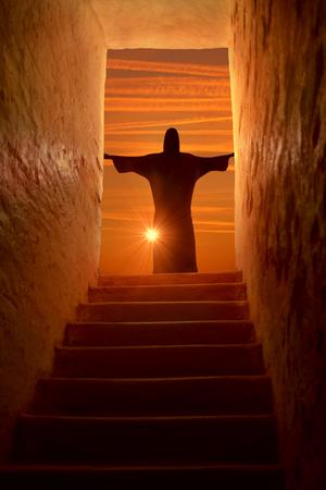 pasion: Jesús se levanta en Suinday Pascua Foto de archivo