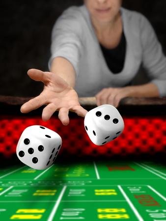 Dados jugador en el casino en línea Foto de archivo - 54068215