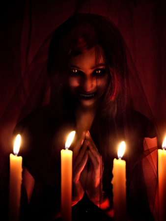 inquisition: witch in Halloween horror house