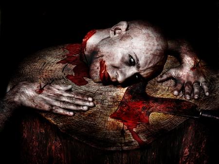 demon decapitated on Halloween Stock Photo