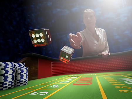 dice throw on craps casino table Reklamní fotografie