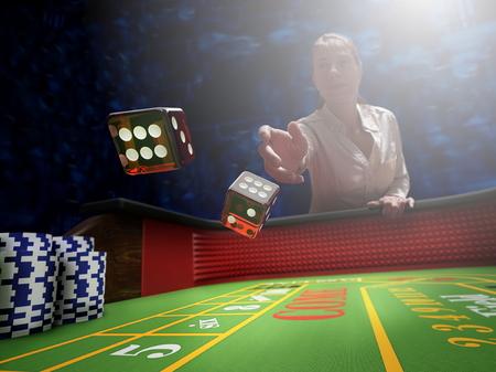 dobbelstenen gooien op Craps casino tafel Stockfoto