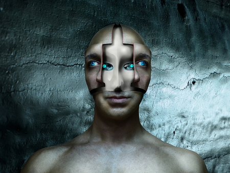 cyber robot under human face in futuristic background Stock Photo