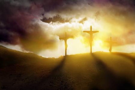 Jezus passie en God zegen voor de opstanding Stockfoto