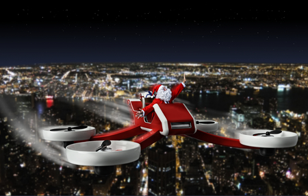 funny santa claus on drone Stock Photo