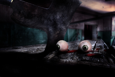 crime scene in scary clown laboratory on Halloween