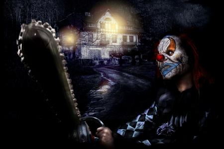 horror scary clown and creepy house