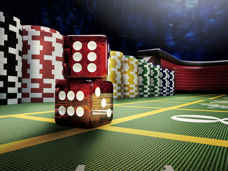 craps dices throw on casino table