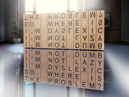 dyslexia and disability concept Foto de archivo - 108372578
