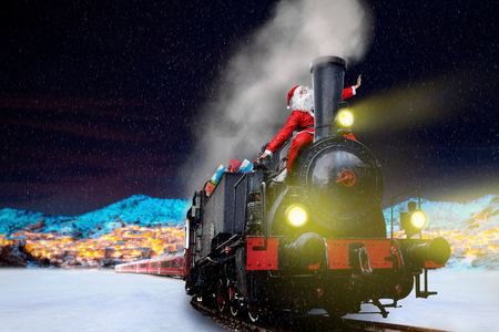 funny vintage santa on christmas train