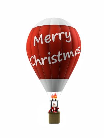 funny modern santa on vintage hot air balloon Foto de archivo - 119447746