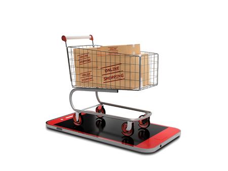 online cyber shopping cart Foto de archivo - 119447749