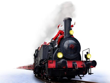 funny santa on vintage christmas train Stock Photo