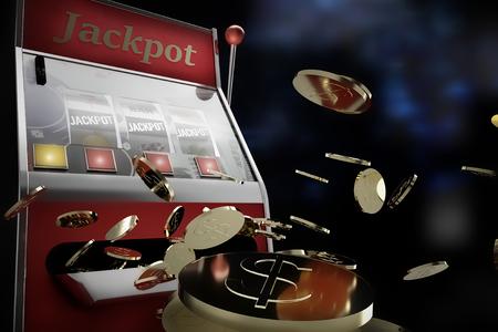 slot machine paying jackpot in online casino Foto de archivo - 119447871