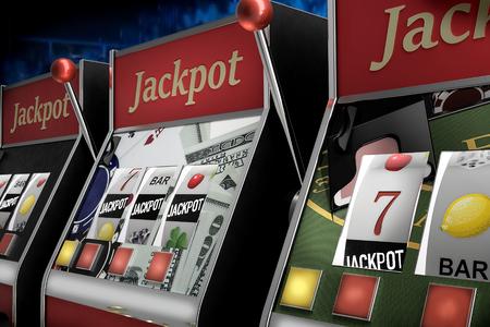 slot machine paying jackpot in online casino Foto de archivo - 119447872