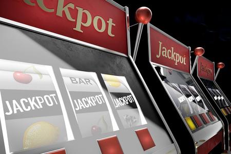 slot machine paying jackpot in online casino Foto de archivo - 119447873