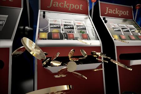 slot machine paying jackpot in online casino Foto de archivo - 119447874