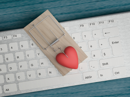 online cyber love and fraud concept Stockfoto