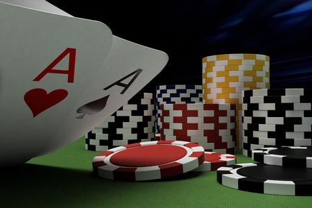 poker player at blackjack table in online casino Imagens