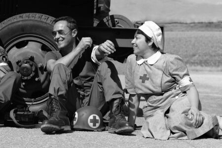 Castegnato, Brescia, Italy - April 25 2019: US World War 2 veteran soldiers commemoration during Italian liberation day from WW2 Nazi army Stock Photo - 128467352