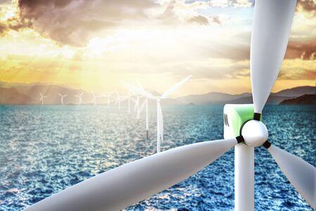 wind turbine and renewable energy concept Foto de archivo - 128506402