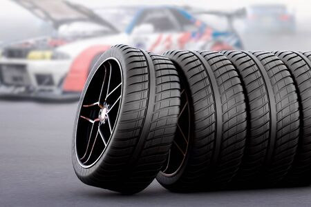 racing tires for all seasons and bad weather 写真素材
