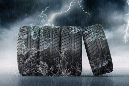 racing tires for all seasons and bad weather Stock Photo
