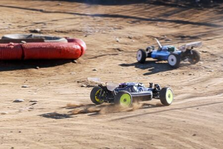 rc racing cars during off-road race