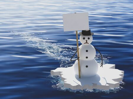 activist snowman manifesting against global warming