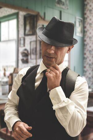 vintage Italian mafia gangster Stock Photo - 144147444