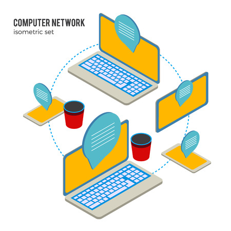 online education: Computer isometric art and online education illustrations.