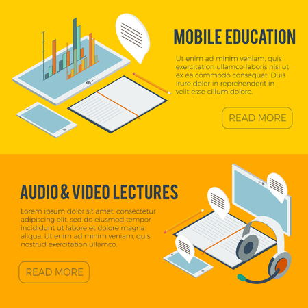 computer education: Computer isometric art and online education illustrations.