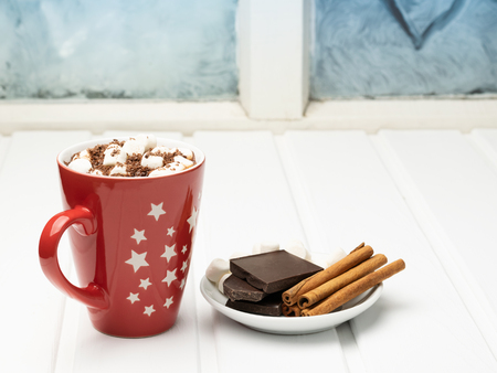 Hot cocoa on the background of a frozen window.