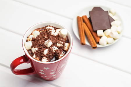Cocoa in a red mug and ingredients.