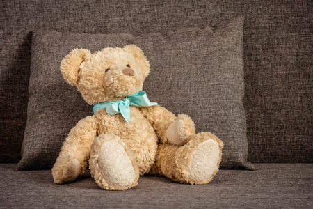 Teddy bear sitting on the couch next to a sofa cushion.