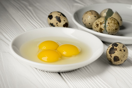 Close-up of yolks and whites of quail eggs in a white plate and another egg-shell plate.