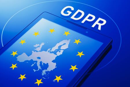 Flag and contours of a map of Europe on the phone screen and the inscription GDPR - General Data Protection Regulation.
