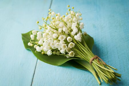 Close-up bouquet of lilies of the valley on a blue wooden background.