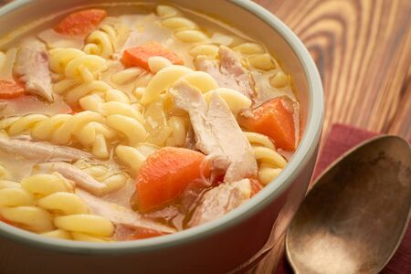 Close-up of a classic bowl of chicken noodle soup cooked in a classic recipe.
