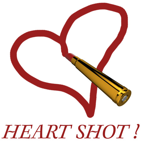 A 375 Magnum cartridge with instead of ball, lipstick, and a drawn heart.