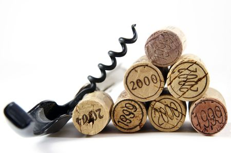 Corkscrew and corks with year stamp as pyramid photo