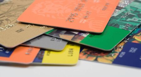 Heap of credit card. Financial background. Selective focus Stock Photo - 3875831