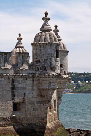 belem: Fragment of Belem Tower  Torre de Belem  in Lisbon, Portugal