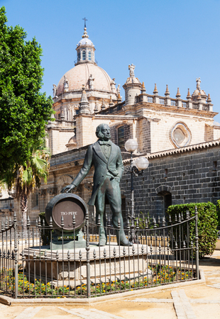 Statue of Tio Pepe near Cathedral in Jerez de la Frontera, Andalusia, Spain