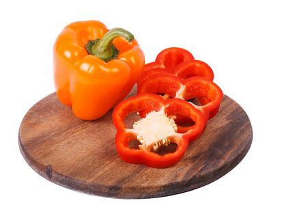 sweet segments: Orange sweet pepper and segments of red one Stock Photo