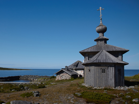 A wooden church in honor of St. Andrew on Bolshoi Zayatsky islan Stock Photo
