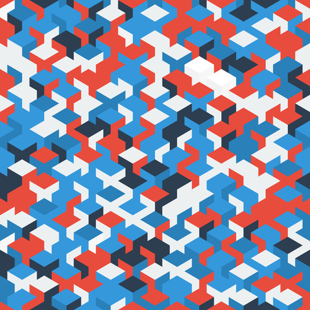 red white blue: Red white blue isometric cubes pattern.